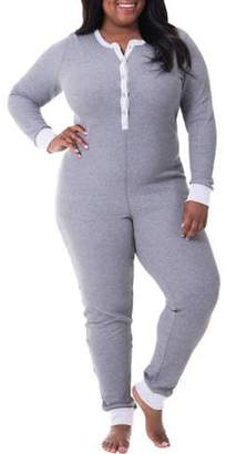 Fruit of the Loom Fit for Me by Women's Plus Size Waffle Thermal Underwear Union Suit