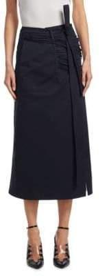 Calvin Klein Cross Front Poplin Wrap Skirt