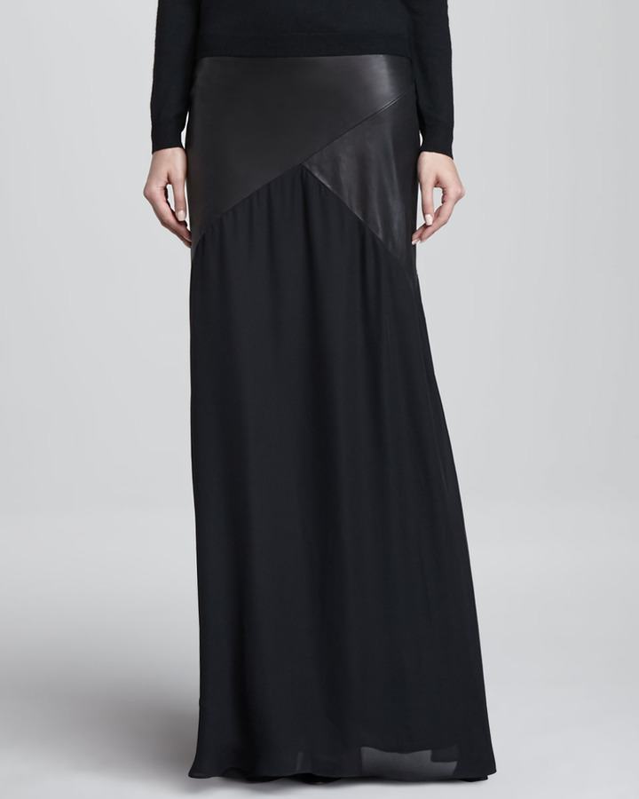 Alice + Olivia Cheyleigh Leather-Top Maxi Skirt