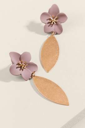 francesca's Brenna Flower Drop Earrings - Gray