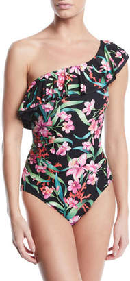Carmen Marc Valvo One-Shoulder Floral-Print Ruffle One-Piece Swimsuit