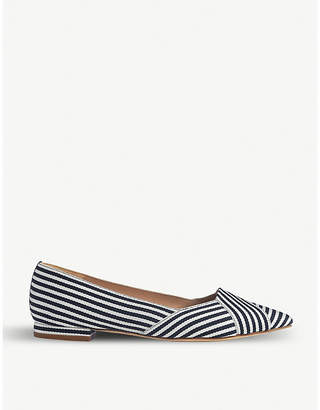 LK Bennett Savannah striped grosgrain and leather ballet flats