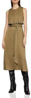 BCBGMAXAZRIA Sleeveless Studded-Overlay Midi Dress