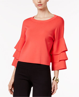 INC International Concepts Ruffled Cropped Sweater, Only at Macy's $89.50 thestylecure.com