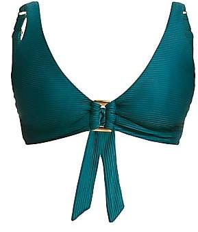 Heidi Klein Women's Center-Buckle Textured Bikini Top