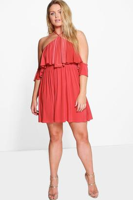 boohoo Plus Vik Double Layer Drape Sleeve Skater Dress $40 thestylecure.com