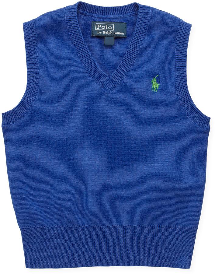 Ralph Lauren V-Neck Sweater Vest, Blue, 9-24 Months