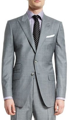 TOM FORD O'Connor Base Sharkskin Two-Piece Suit, Light Gray $3,870 thestylecure.com