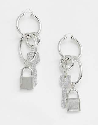 Asos Design DESIGN hoop earrings with padlock and key design in silver