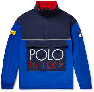 Polo Ralph Lauren Hi-Tech Logo-Appliquéd Colour-Block Nylon Half-Zip Hooded Jacket