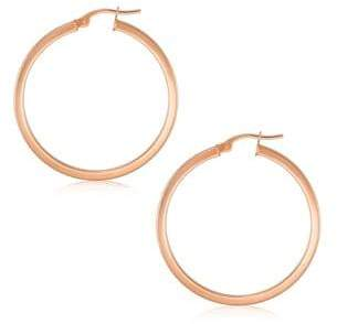 Fine Jewellery 10K Gold Square Tube Hoop Earrings