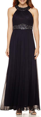 Decoded One by Eight Sleeveless Beaded Halter Evening Gown
