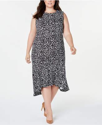 Calvin Klein Plus Size Ruffle-Hem Animal Printed Midi Dress