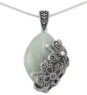 Lord & Taylor Jade Teardrop Pendant Necklace