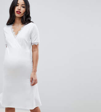 Bluebelle Maternity wrap dress with lace detail