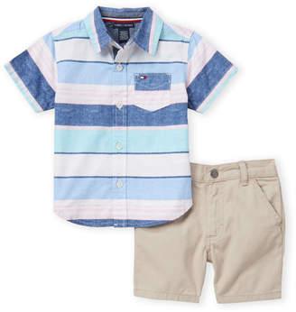 d68de61d3af91 Tommy Hilfiger Infant Boys) Two-Piece Striped Pocket Shirt & Khaki Shorts  Set