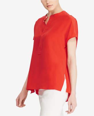 Polo Ralph Lauren Band-Collar Silk Blouse