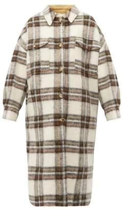 Etoile Isabel Marant Gaston Oversized Checked Wool Blend Blanket Coat - Womens - Ivory Multi