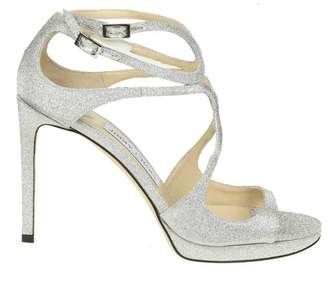 Jimmy Choo Lace 100 Sandal In Silver Color Glittery Fabric