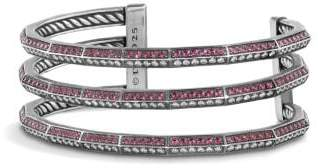 David Yurman Stax Three-Row Pave Bracelet With Ruby And Diamonds, 22Mm