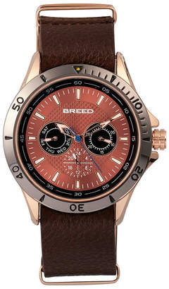 Breed Quartz Dixon Bronze And Brown Genuine Leather Watches 43mm