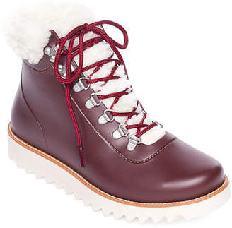 Bernardo Wiley Lace-Up Rubber Rain Booties
