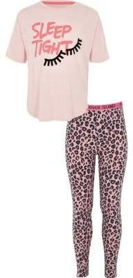 River Island Girls pink 'sleep tight' print pajama set