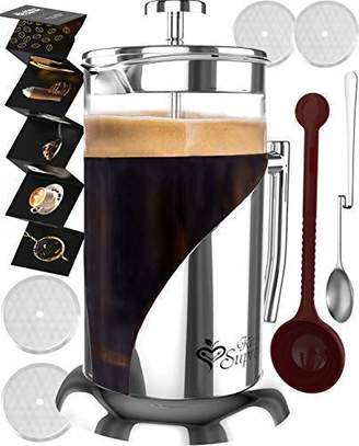 French Press Coffee & Tea Maker Complete Bundle   34 oz   BEST Coffee Pot with 304 Stainless Steel & Double German Glass