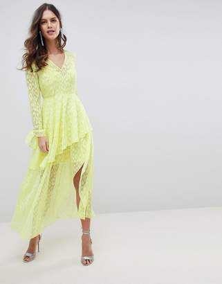 Asos DESIGN V Front Maxi dress with long sleeves and Ruffles In Leopard Self Jacquard