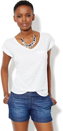 New York & Co. Welt-Pocket Cotton Tee Shirt