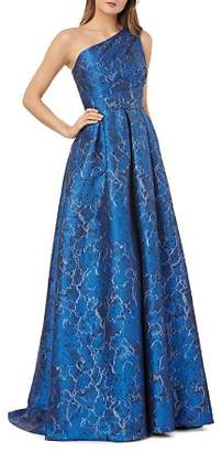 Carmen Marc Valvo One-Shoulder Pleated Floral Gown