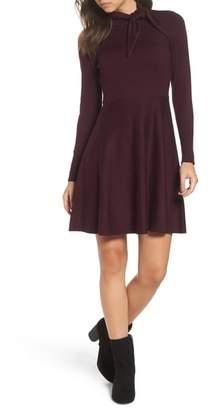 Eliza J Tie Neck Fit & Flare Dress