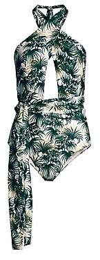 PatBO Women's Palm Print Halter One-Piece Swimsuit