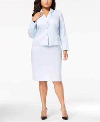 Le Suit Plus Size Bow-Collar Jacquard Skirt Suit