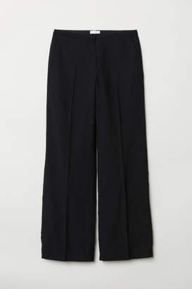 H&M Wide-leg Wool-blend Pants - Black