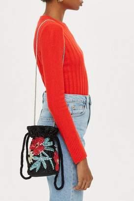 Topshop Floral Drawstring Cross Body Bag