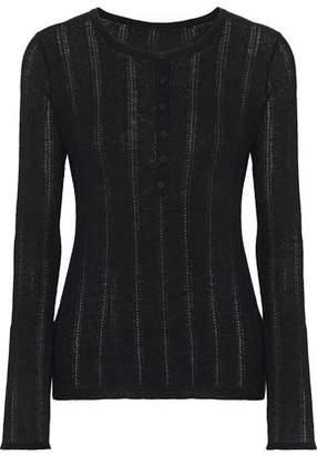 Elie Tahari Corette Pointelle-knit Wool-blend Top
