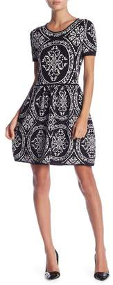 Romeo & Juliet Couture Short Sleeve Intarsia Knit Dress
