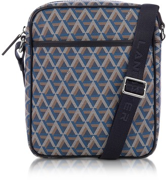 Ikon Lancaster Paris Blue Coated Canvas Men's Crossbody Bag