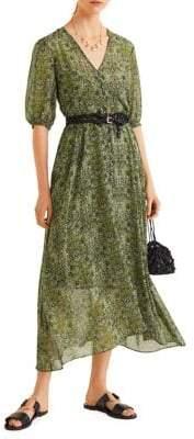 MANGO Belted Floral Gauze Midi Dress