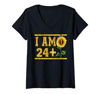 Womens Awesome 25th Birthday Gifts 24+1 Floral Birthday V-Neck T-Shirt
