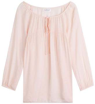 Velvet Embroidered Blouse with Self-Tie Front