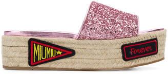 Miu Miu patch detailed platform sandals
