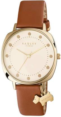 Radley Cream and Gold Dog Charm Dial Brown Leather Strap Ladies Watch