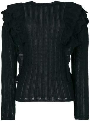 IRO Dolipa ruffled pointelle-knit sweater