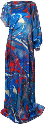 Rosie Assoulin Lady Liberty Marble Print Asymmetric Dress