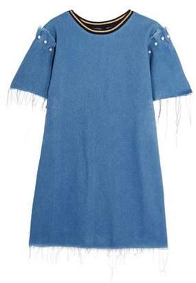 Mother of Pearl Lloyd Frayed Embellished Denim Mini Dress