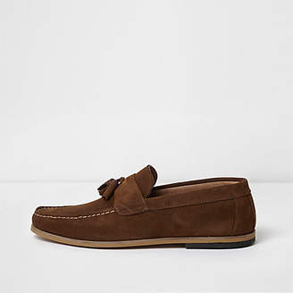River Island Tan brown suede tassel loafers