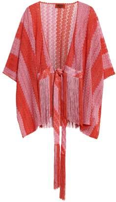 Missoni Fringe-trimmed Striped Crochet-knit Coverup