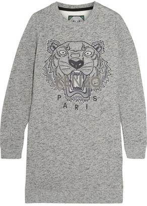 KENZO - Tiger-embroidered Cotton Sweatshirt Mini Dress - Gray $420 thestylecure.com